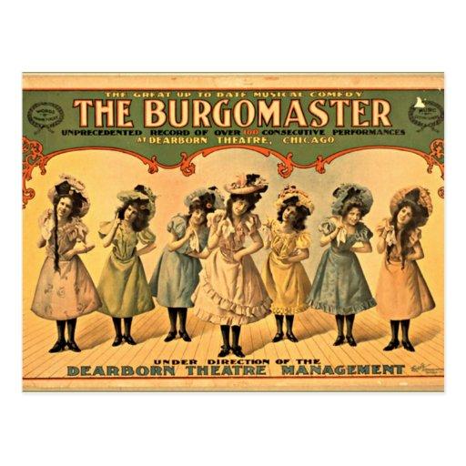 Poster del teatro del vintage del burgomaestre tarjeta postal