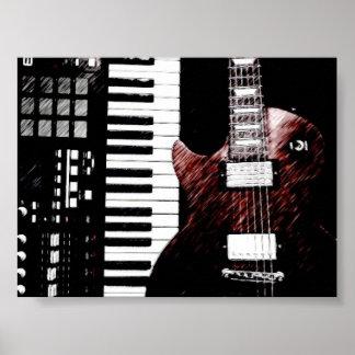 Poster del teclado y de la guitarra