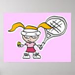 Poster del tenis con el dibujo animado del jugador
