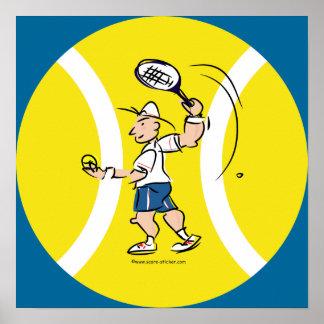 Poster del tenis con el dibujo animado y la bola a