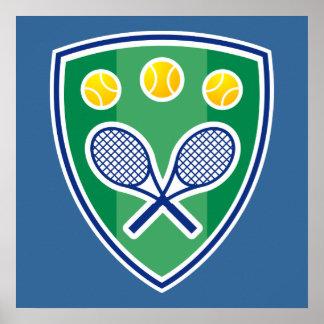 Poster del tenis con el emblema de la estafa de te