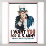 Poster del tío Sam, América. Le quiero para los E.
