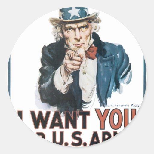 Poster del tío Sam, América. Le quiero para… Pegatina Redonda