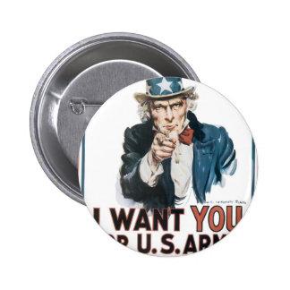 Poster del tío Sam, América. Le quiero para… Pin Redondo De 2 Pulgadas