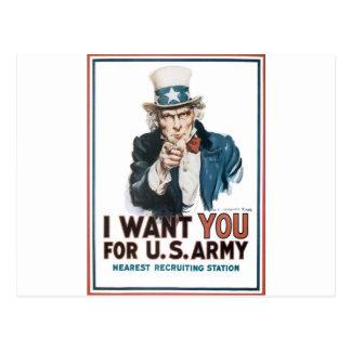 Poster del tío Sam, América. Le quiero para… Postal