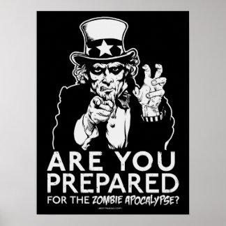 Poster del tío Sam de la apocalipsis del zombi