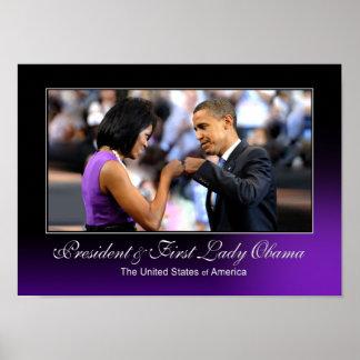 Poster del topetón del puño de Obama Póster