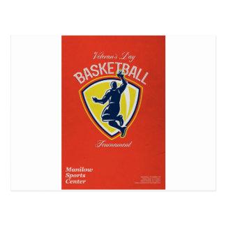 Poster del torneo del baloncesto del día de vetera postal