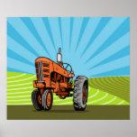 poster del tractor de granja del vintage