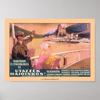 Poster del transbordador de Danubio del húngaro