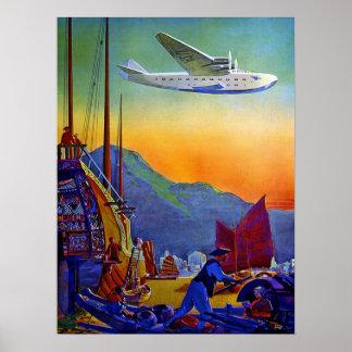 Poster del transporte aéreo del vuelo
