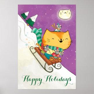 Poster del trineo del gato lindo del navidad