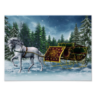 Poster del trineo del navidad