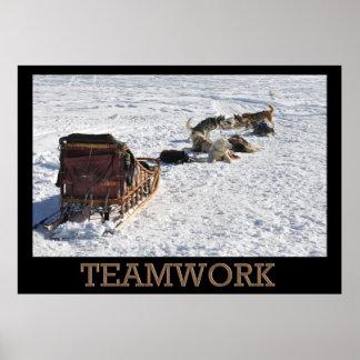 Poster del trineo del perro del trabajo en equipo