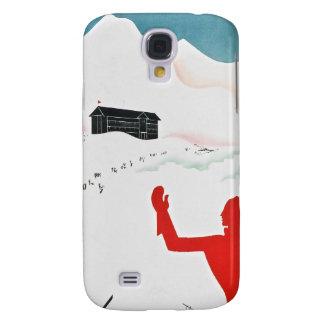 Poster del turismo del vintage de Mont Ginebra Funda Para Samsung Galaxy S4