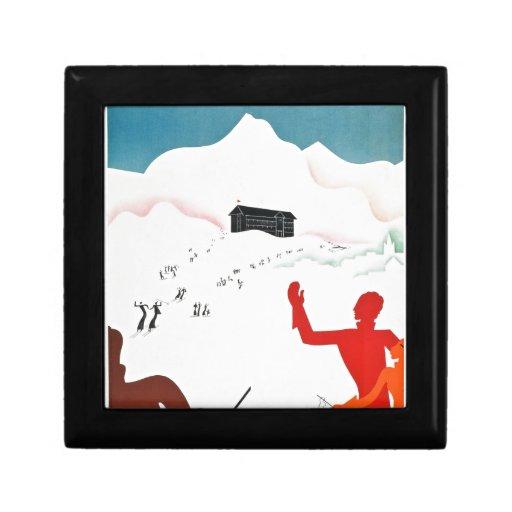 Poster del turismo del vintage de Mont Ginebra Joyero Cuadrado Pequeño