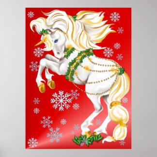 Poster del unicornio del navidad