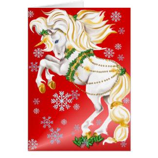 Poster del unicornio del navidad tarjeta de felicitación