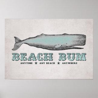 Poster del vago de la playa de la ballena del vint