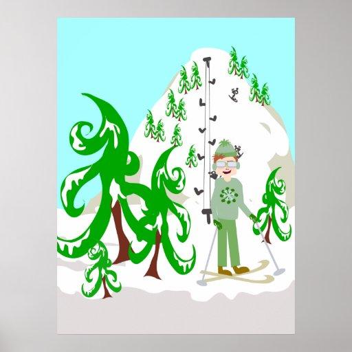 Poster del vago del esquí del vintage