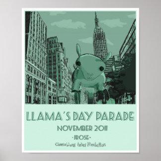 Poster del valor del desfile del día de la llama