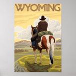 Poster del vaquero y del viaje de HorseWyomingVint