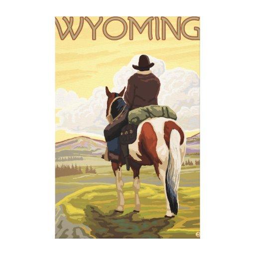 Poster del vaquero y del viaje de HorseWyomingVint Impresiones En Lona
