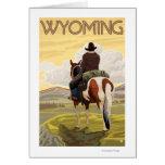 Poster del vaquero y del viaje de HorseWyomingVint Tarjeta De Felicitación