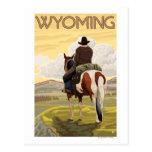 Poster del vaquero y del viaje de postal