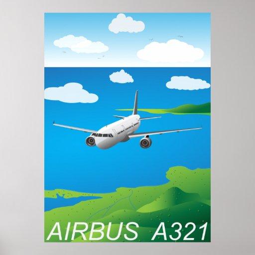 Poster del vector del avión de pasajeros A321 Póster
