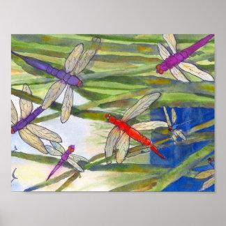 Poster del verano de las libélulas de Roseann Póster
