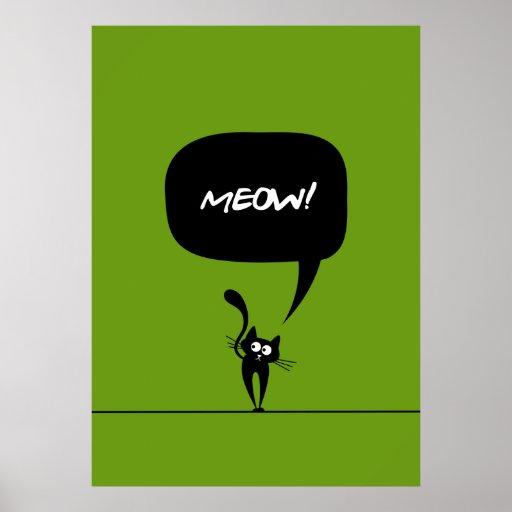 poster del verde 1 del gatito del maullido