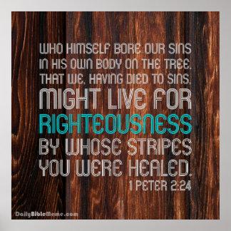 Poster del verso de la biblia - 1 2:24 de Peter