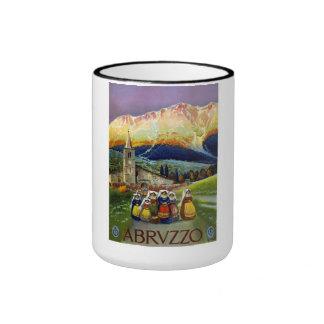 Poster del viaje de Abruzos Italia del vintage Taza