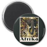 Poster del viaje de África del vintage, elefante a Iman De Frigorífico