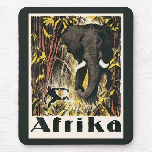 Poster del viaje de África del vintage, elefante Mousepad