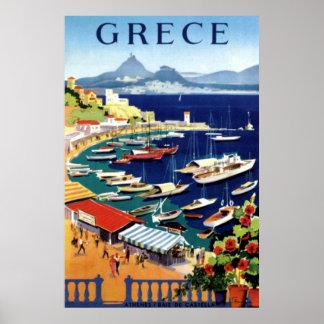 Poster del viaje de Atenas Grecia del vintage