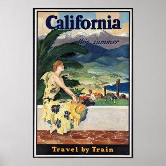 Poster del viaje de California del vintage