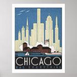 Poster del viaje de Chicago del vintage