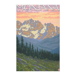 Poster del viaje de FlowersMontanaVintage de la pr Lienzo Envuelto Para Galerías