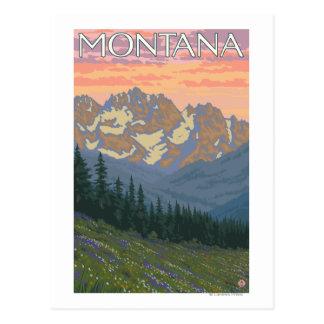 Poster del viaje de FlowersMontanaVintage de la Tarjetas Postales