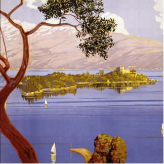 Poster del viaje de Garda del lago vintage Esculturas Fotograficas