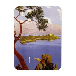 Poster del viaje de Garda del lago vintage Imán