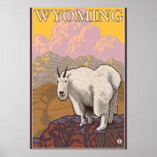 Poster del viaje de GoatWyomingVintage de la monta