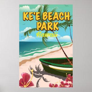 poster del viaje de Hawaii del parque de la playa