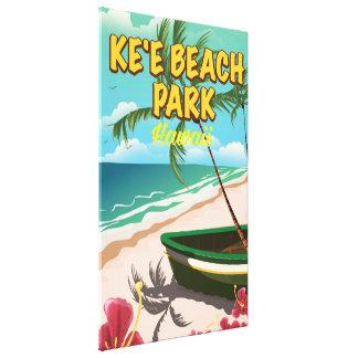 poster del viaje de Hawaii del parque de la playa Impresión En Lienzo Estirada