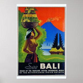 Poster del viaje de Indonesia Bali del vintage