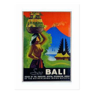 Poster del viaje de Indonesia Bali del vintage Postal