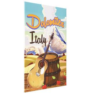 Poster del viaje de Italia de las dolomías Lona Estirada Galerías