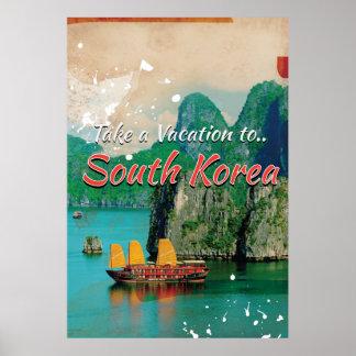 Poster del viaje de la Corea del Sur del vintage